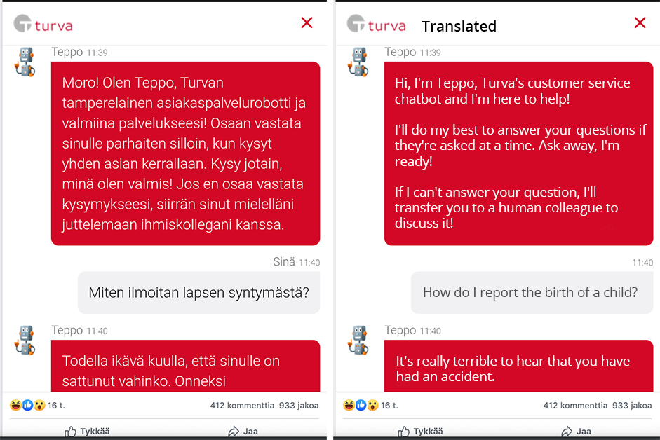 Customer Service Chatbots Go Rogue Turvas Story Blog Post GetJenny -- Turva Chatbot Teppo Response Translated to English