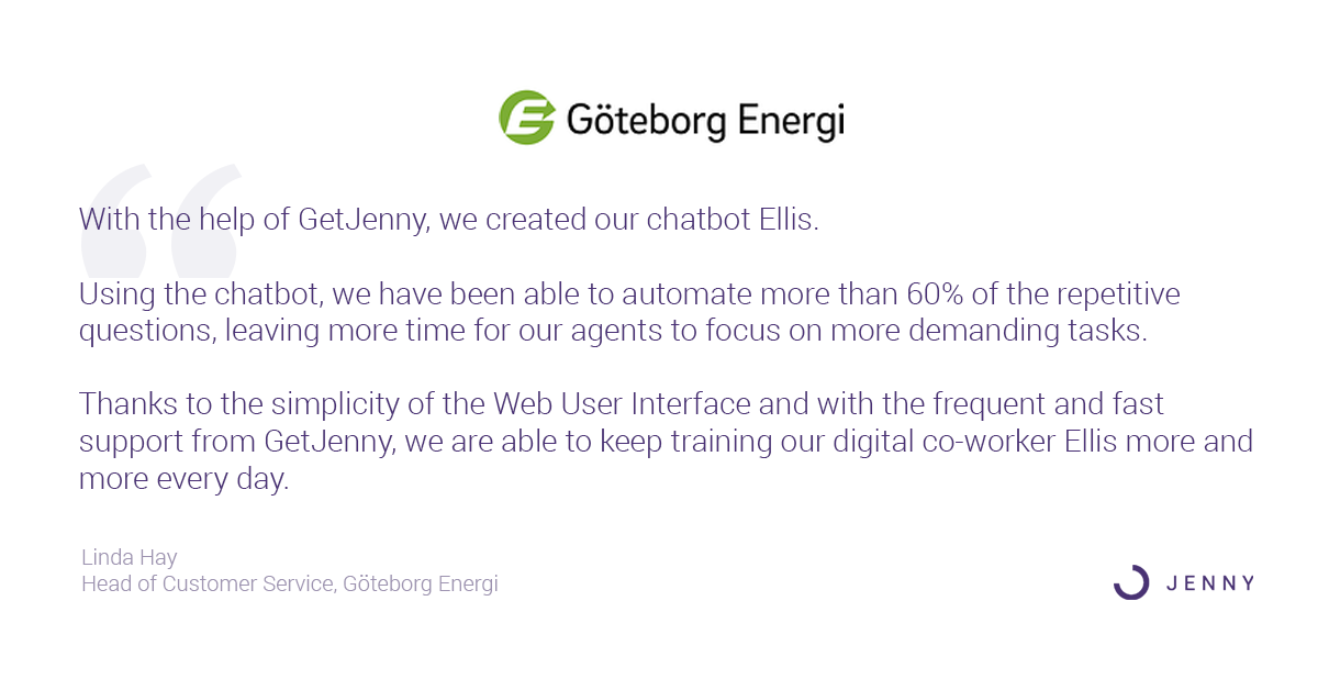 Goteborg Energy Testimonial Linda Hay Head of Customer Service Automate 60 percent with GetJenny Customer Service Chatbots