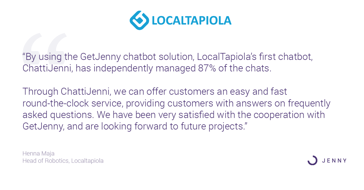 Localtapiola handles 87 percent of chats round the clock using GetJenny Chatbots - Henna Maja Head of Robotics - Customer Service Chatbots in Insurance