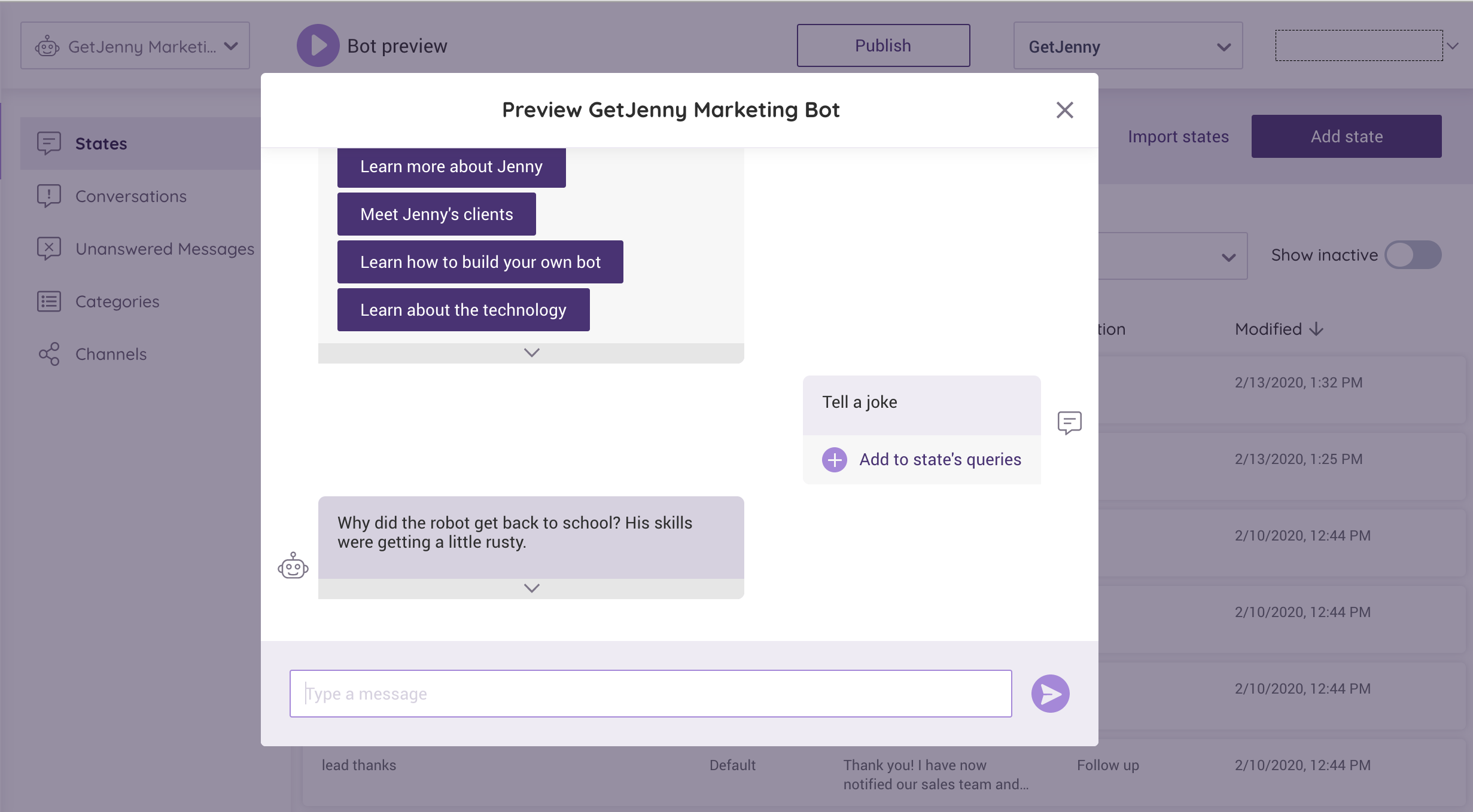 Image: Customer service chatbot building and testing in action with JennyStudio. | GetJenny